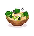 mixed salad bowl healthy eating concept vector image