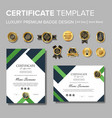 modern green certificate with badge vector image vector image
