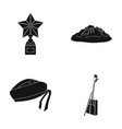 music travel and other web icon in black style vector image vector image