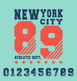new york city t shirt print design vector image vector image