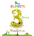 number 3 in the form of a dinosaur vector image