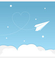 paper airplane background with heart vector image vector image