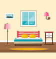 room with bed flat design interior vector image