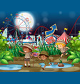 scene background design with children at funfair vector image