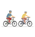 senior people cycling - flat design style vector image
