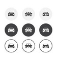 set 3 simple design car icons rounded vector image