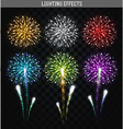 Set of 6 realistic fireworks different colors vector image