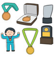 set of medal and trophy vector image