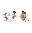single black mother and her daughter spending time vector image