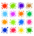 sixteen multicolored hand drawn paint splashes vector image vector image