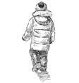 sketch small kid in jacket with hood going on vector image vector image