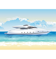 speed boat on seashore daylight vector image