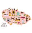 stylized map czech republic with symbols vector image