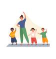 teacher and kindergarten kids exercising vector image vector image