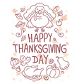 thanksgiving with turkey bird vegetables l vector image vector image