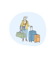 travelling with luggage vacations and journey vector image vector image
