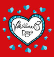 valentines day handwriting word in glass heart vector image