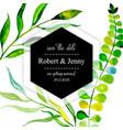 watercolor floral wedding invitation card vector image vector image
