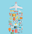 world travel concept background plane flat icons vector image vector image