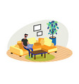 young adult man working at home vector image