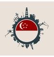 Cargo port relative silhouettes Singapore flag vector image