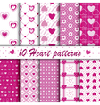 10 Pink heart shape seamless patterns collection vector image vector image