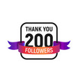 200 followers number with color bright ribbon vector image vector image