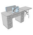 3d a sewing machine on a working table white