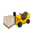 A Forklift Truck Loading A Shipping Box vector image vector image