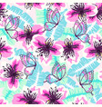 abstract turquoise pink pattern vector image vector image