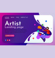 artistic landing page template flying man vector image