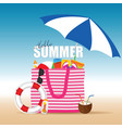 bag for beach with stuff color design vector image vector image