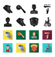 basketball and attributes blackflet icons in set vector image vector image