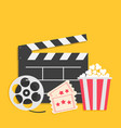 big movie reel open clapper board popcorn box vector image vector image