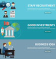 Business banner horizontal set with investments vector image vector image