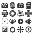 camera accessories and photography icons set vector image vector image