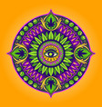 cannabis leaf mandala psychedelic vector image vector image