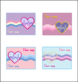 card heart with cardiogram vector image vector image