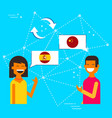 chinese and spanish friends translating concept vector image vector image
