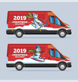 christmas delivery truck snowman character vector image