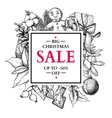 christmas sale banner hand drawn with holly vector image vector image