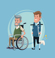 color background set elderly man in wheelchair and vector image vector image