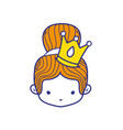 colorful girl head with crown and bun hair vector image vector image