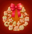 ginger cookies christmas wreath decorative vector image vector image