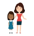 girl student character with teacher isolated icon vector image