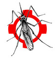 hand drawn mosquito on crosshatch vector image vector image