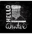 Hello winter lettering text Brush and boots