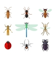 icon set insects in flat style vector image