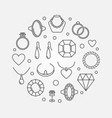 jewelry round outline vector image