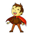kid in dracula costume for happy halloween party vector image
